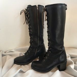 Frye Karen Tall Black Lace Up Boot 7M